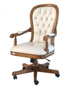 Fauteuil de bureau en bois et cuir, fauteuil tournant de bureau, achat fauteuil classique en bois et cuir