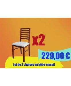 Lot de 2 chaises en hêtre massif, chaise en bois, chaises en promotion