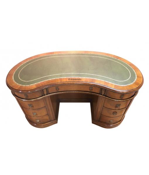 meuble bureau, bureau classique, bureau 9 tiroirs, bureau dessus en cuir, bureau haricot