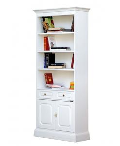 Bibliothèque haute portes et tiroir, bibliothèque blanche, bibliothèque laquée, meuble bibliothèque en bois, bibliothèque de style classique