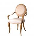 Chaise bois et tissu forme sinueuse et élégante