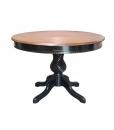 Table ronde bicolore extensible 120 cm, table ronde avec pied central, table 120 cm à rallonge pour salle