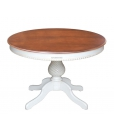 Table ronde bicolore extensible 120 cm, table laquée bicolore, table bicolore, table ronde pied central, table ronde 120 cm, table ronde extensible