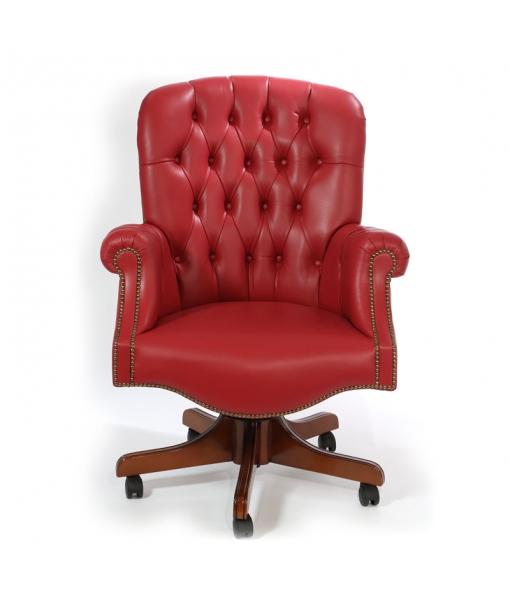 Fauteuil rembourré cuir rouge, fauteuil capitonné, achat fauteuil en bois style classique