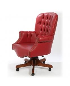Fauteuil rembourré cuir rouge, fauteuil de bureau vrai cuir rouge