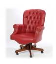 Fauteuil rembourré cuir rouge, fauteuil tournant de bureau, fauteuil tournant de style classique