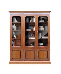Bibliothèque vitrée murale en bois modulable