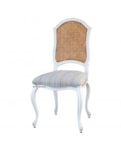 Chaise bois et tissu avec dossier en paille de vienne