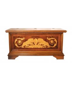 Coffre de rangement bois massif marqueté, coffre en chêne, coffre hall d'entrée