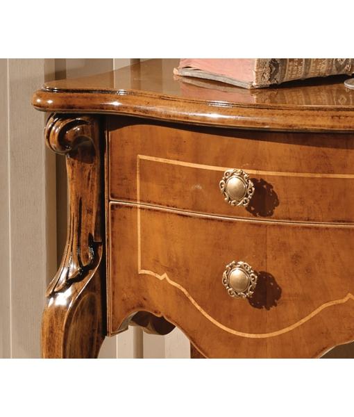 Meuble chevet d'appoint, table de chevet en bois marqueté