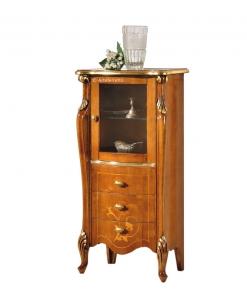 Meuble vitrine petite taille, vitrine de salon, vitrine style classique en bois