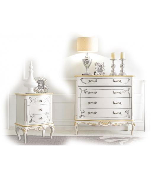 Commode et table de chevet décorée pour chambre adulte réf. A217-V et A213-V
