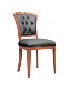 Chaise dossier capitonné, chaise classique, chaise en bois, chaise artisanale