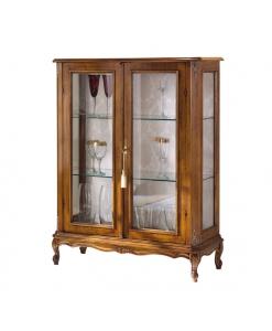 vitrine, meuble vitrine, vitrine de style classique, vitrine deux portes en bois pour salon