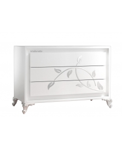 Commode pour chambre en feuille argent, commode blanche, commode push-pull, ouverture push-pull