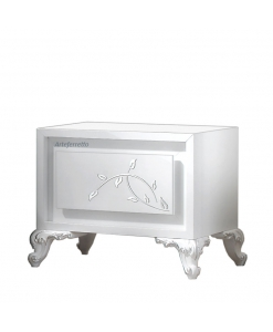 Table de chevet basse en feuille d'argent, table de chevet, chevet style contemporain, chevet feuille argent