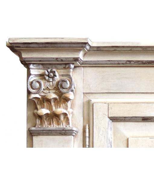 Armoire haut artisanat, meubles pour chambre, armoire haut de gamme, armorie décorée feuille argent