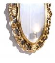 Miroir ovale en bois finition feuille d'or vieillie réf. DB-H127