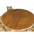 Table ronde 140 cm prolongeable avec dessus marqueté, style classique, made in italy