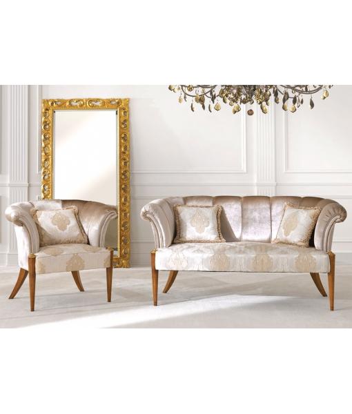 Canapé et fauteuil assorti bois et tissu Icône