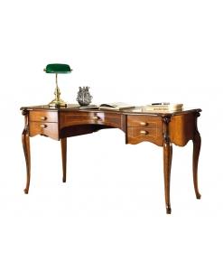 Bureau 5 tiroir, bureau en bois pour cabinet, meuble bureau style classique