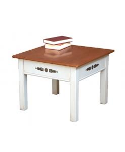 Table carrée de salon finition bicolore réf. 4002-BIC - Dessus merisier, structure ivoire vieilli