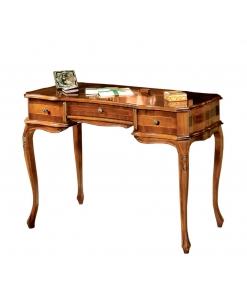 Bureau marqueté 3 tiroirs, meuble bureau style classique en bois pour cabinet