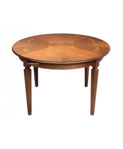 Table ronde avec marqueterie florale, table ronde 120 cm en bois style classique
