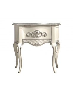 Table de chevet galbée et sculptée, table de chevet chambre à coucher, meuble chevet pour chambre