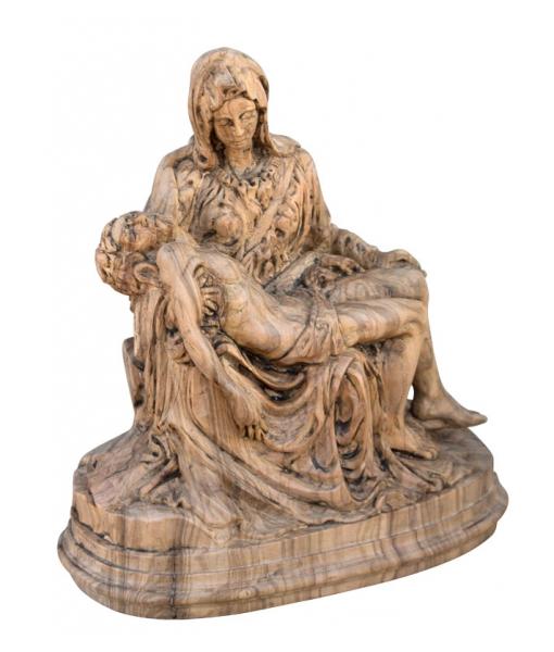 """Petite statue """"Pietà"""" en bois d'olivier"""
