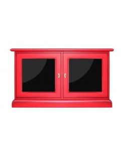 Buffet petite taille laqué rouge, meuble bas rouge, bahut, meuble buffet, meuble rouge