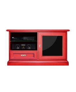 Meuble TV laqué rouge, meuble tv rouge, meuble tv en bois laqué rouge