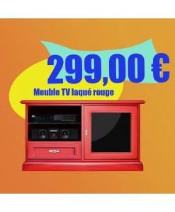 Meuble TV laqué rouge, meuble tv en promotion, achat meuble tv rouge