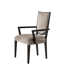 Chaise bout de table design, chaise avec accoudoirs, chaise style contemporain, chaise moderne bois et tissu