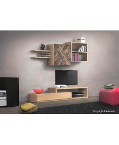 Ensemble mural avec rangements, meuble mural modulaire pour salon design contemporain