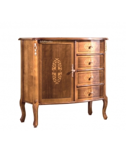 Buffet marqueté petite taille, meuble chiffonnier style classique en bois avec porte et tiroirs, bahut petite taille, meuble chiffonnier buffet