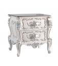 Table de chevet sculptée, chevet style classique italien, meubles pour chambre style classique
