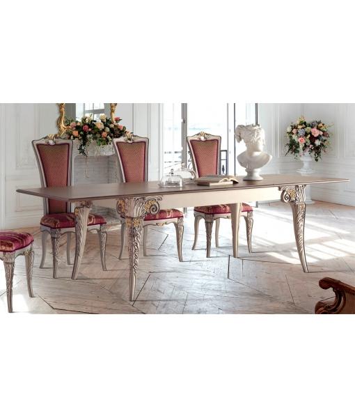 Table prolongeable 180x100, salle à manger classique, table et chaises classiques pour salle à manger