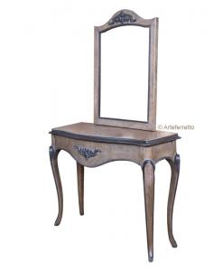 Console et miroir en merisier massif, miroir, console, console et miroir hall d'entrée