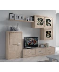 Meuble TV mural pour salon en bois naturel