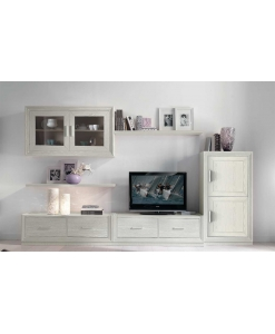 Composition meuble TV mural, meuble composition modulable pour salon, meuble complet pour salon design contemporain