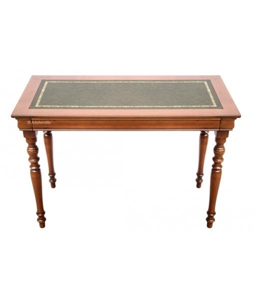 bureau classique style louis philippe, bureau petite largeur, bureau en bois dessus en cuir