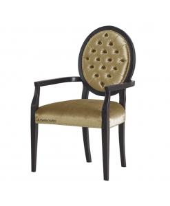 Chaise médaillon capitonné avec accoudoirs, chaise, chaise médaillon, chaise classique bois et tissu