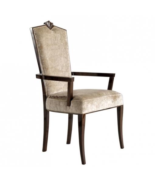 Chaise bout de table en bois et tissu réf. L56-C