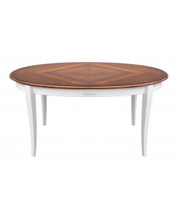 Table à manger ovale dessus marqueté