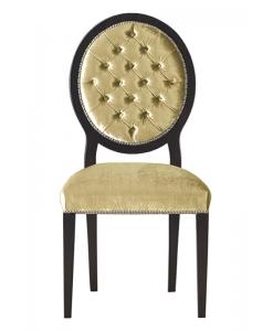 Chaise dossier en médaillon capitonné, chaise capitonné médaillon, chaise médaillon, chaise dossier en médaillon