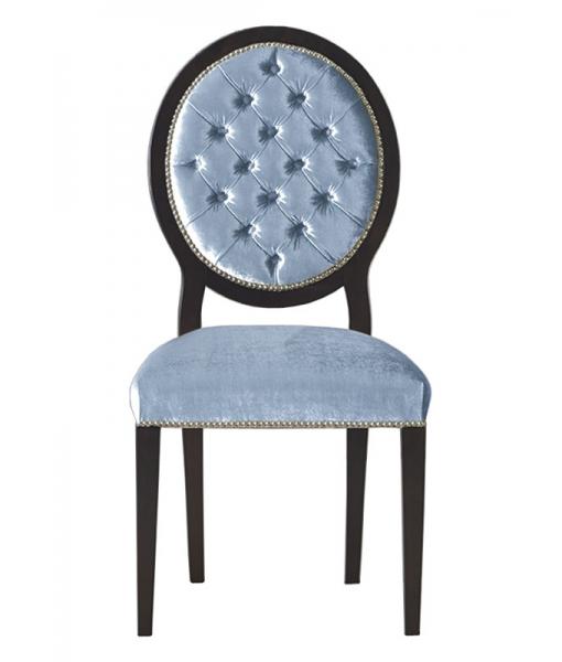 Chaise dossier en médaillon capitonné, chaise style médaillo, chaise médaillon capitonné, chaise dossier en médaillon, chaise médaillon moderne