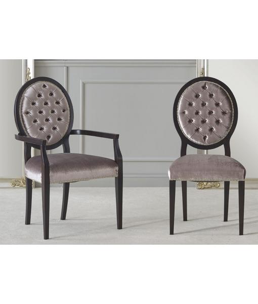 """Chaise et bout de table dossier en médaillon capitonné """"Deluxe""""L43-C"""