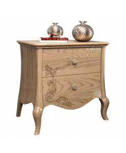 Table de chevets 2 tiroirs pieds galbés, chevet 2 tiroirs, chevet classique, table de chevet style classique en bois pour chambre adulte