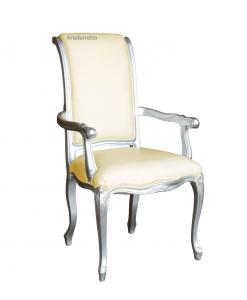 Chaise avec accoudoirs finition argent, chaise style classique couleur argent, chaise avec accoudoirs, chaise dossier haut